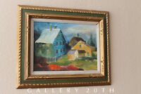 THE BLUE HOUSE! ORIG. OIL PAINTING VTG ART MODERN EXPRESSIONIST MID CENTURY 60'S