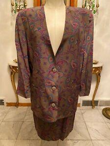 Vintage Michelle Stuart Multi-ColoredPaisley Print Blazer & Skirt Size: 8
