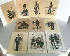 Library E Font Military Uniforms Costumes Print Art French Lot of 10 Wall Decor