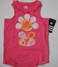 ADIDAS NWT Girls Tee Top Shirt T-Shirt Logo Pink Orange Sport Flower Tank 6 6X