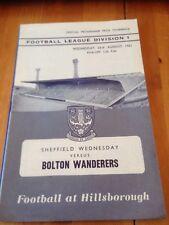 SHEFFIELD WEDNESDAY V BOLTON WANDERERS -  DIV 1 - 23/8/1961