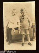 Baby & Young Boy Antique Snapshot Photograph PA Photo Knickers Victorian Table