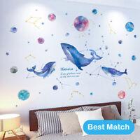 Large DIY Blue Whale Universe Galaxy  PVC Vinyl Nursery Mural Decal Wall Sticker
