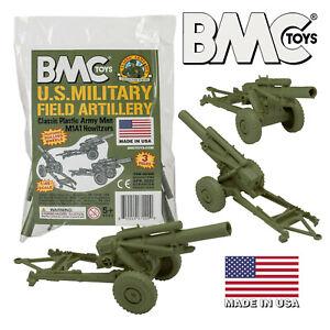 BMC Marx Recast Battleground HOWITZERS OD Green Plastic Army Men Field Artillery