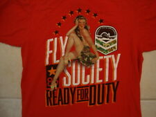 Fly Society Ready for Duty Sexy Topless Girl Woman Red T Shirt M