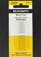 Beadsmith English Beading Needles Size 10,  Pack of 4 Needles (BSND1004)