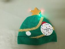 new holiday light up knit winter beanie cap.  size large