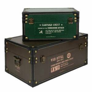 Military Heritage Storage Boxes with Handles | Set of 2