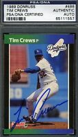 Tim Crews Psa/dna Signed 1989 Donruss Authentic Autograph
