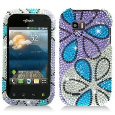 For T-Mobile LG myTouch Q Crystal BLING Case Phone Cover Silver Purple Flowers