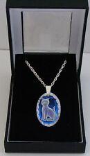 Ice Blue Oval Cat Crystal Pendant