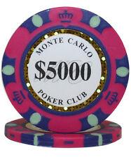 50pcs 14g Monte Carlo Poker Club Casino Poker Chips $5000
