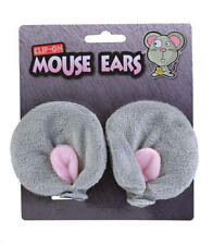 Grey Clip On Mouse Ears Animal Rodent Fancy Dress Accessory