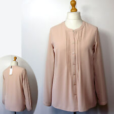 M&S CLASSIC Mandarin Collar LONG SLEEVE BLOUSE ~ Size 18 ~ OYSTER