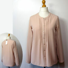 New M&S CLASSIC Mandarin Collar LONG SLEEVE BLOUSE ~ Size 18 ~ OYSTER