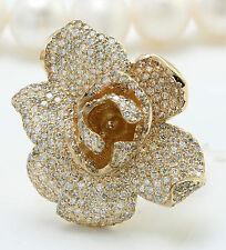 2.90CTW Natural VS2-SI1 / G-H DIAMONDS in 14K Solid Yellow Gold Flower Ring