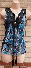 BITTER Sweet Verde Grigio Cravatta Nera con Perline sullo scollo Chiffon Blusa Tunica Top 10 S