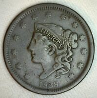 1838 Coronet Large Cent US Copper Type Coin Very Fine Penny R14