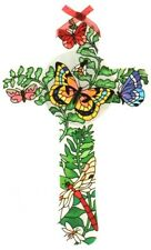 Joan Baker Designs BOTANICAL GARDEN Hand Painted Glass Cross Dragonfly Bee Moth
