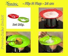 Genius Flip & Flap Set 2tlg 24 cm rot + grün Spritzschutz Überkochschutz ANGEBOT