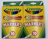 Crayola Fine Line Markers Assorted Classic Colors Box Of 10, New, Lot of 2