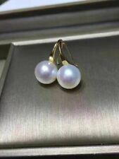 Solid 18K Gold 10-11 mm south sea round white pearl earring