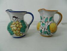 Coppia di brocche in ceramica Scuola di Monreale Lavorate a mano firmate OMA19