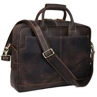 Herren Leder Schultertasche Umhängetasche 16 Laptop Tasche Aktentasche Saddlebag