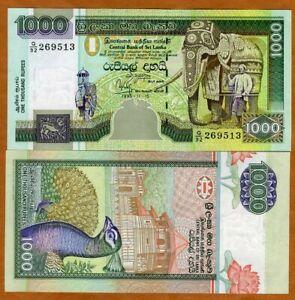 Sri Lanka, 1000 Rupees, 11-15-1992,  P-113, UNC > Ceremonial Elephant, Peacock