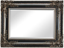 Large New Elegant French Style Silver&Black Ornate Antique bevelled Mirror