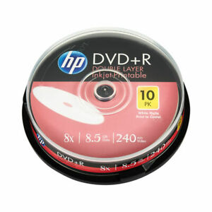 NEW! HP DVD+R DL Inkjet Print 8X 8.5GB Spindle Pack of 10 69306