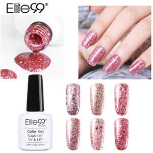 Elite99 Soak Off Rose Gold Glitter UV Colour Gel Polish Base Top 10ML Nail Art