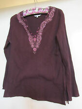 Dark Purple Crinkle Cotton Tunic Top with Pink Floral Beads in Size 12