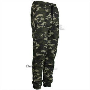 Men Jogger Pants Cargo Pockets Casual Twill Stretch Slim Fit Straight Trouser