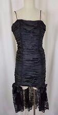 Vintage Gunne Sax Jessica McClintock Black Lace Ruched Wiggle Dress size 5 Goth