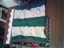 Barbie green & white panel rug blanket knitted clothes lot 10 nice shape