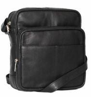 Prime Hide Black Upcycled Leather Ranger Flight Travel Shoulder Cross Body Bag