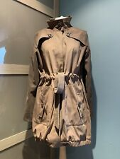Gharani Strok Brown High Neck Button Belted Long Jacket Size L Uk 14
