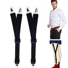 Y Style Men Elastic Band Suspenders Stays Garters Holders T Shirt Locking Clamps