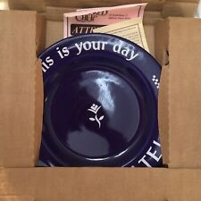"The Pampered Chef ""This is your day Celebrate!"" Cobalt Blue White Plate Special"