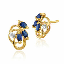 Gemondo 9ct Gold Genuine Blue Sapphire & Diamond Floral Stud Earrings Gift Boxed