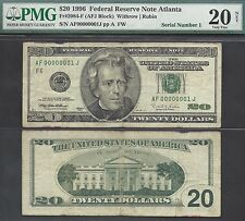 $20 1996==SERIAL NUMBER ONE==FIRST NOTE PRINTED==#1==AF 00000001 J==ONLY 3 KNOWN