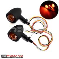 Motorcycle Black LED Bullet Turn Signal Lights Brake Light Running Light 10mm