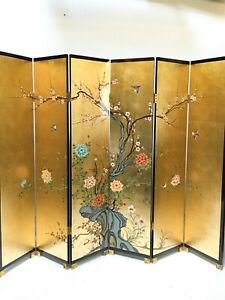 oriental furniture screen 6'x6 panels gold lacquer screen