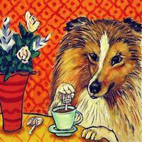 shetland sheepdog sheltie coffee dog art tile coaster