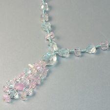 Multi Color Aquamarine Kunzite Nuggets Beads 26-33.5 inch Lariat Necklace