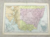 1891 Antik Map Of Neu South Wales Viktorianisch Australia 19th Century Original