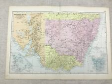 1891 Antique Map of New South Wales Victorian Australia 19th Century Original
