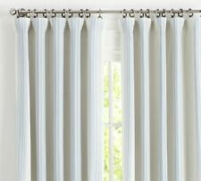 "Riviera Striped Linen/Cotton Rod Pocket Blackout Curtain 50x84"" Porcelain Blue"