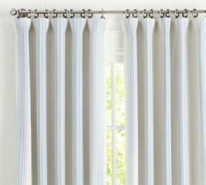 """Riviera Striped Linen/Cotton Rod Pocket Blackout Curtain 50x84"""" Porcelain Blue"""